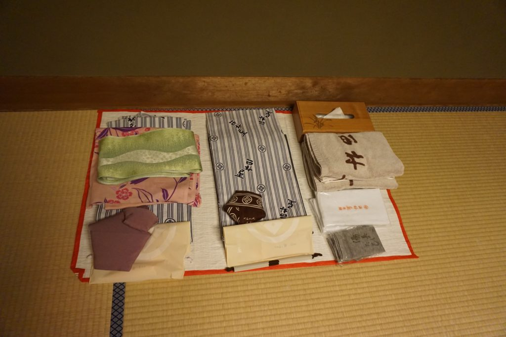 The summer yukata the staff laid out for us to wear around the town of Kinosaki Onsen.