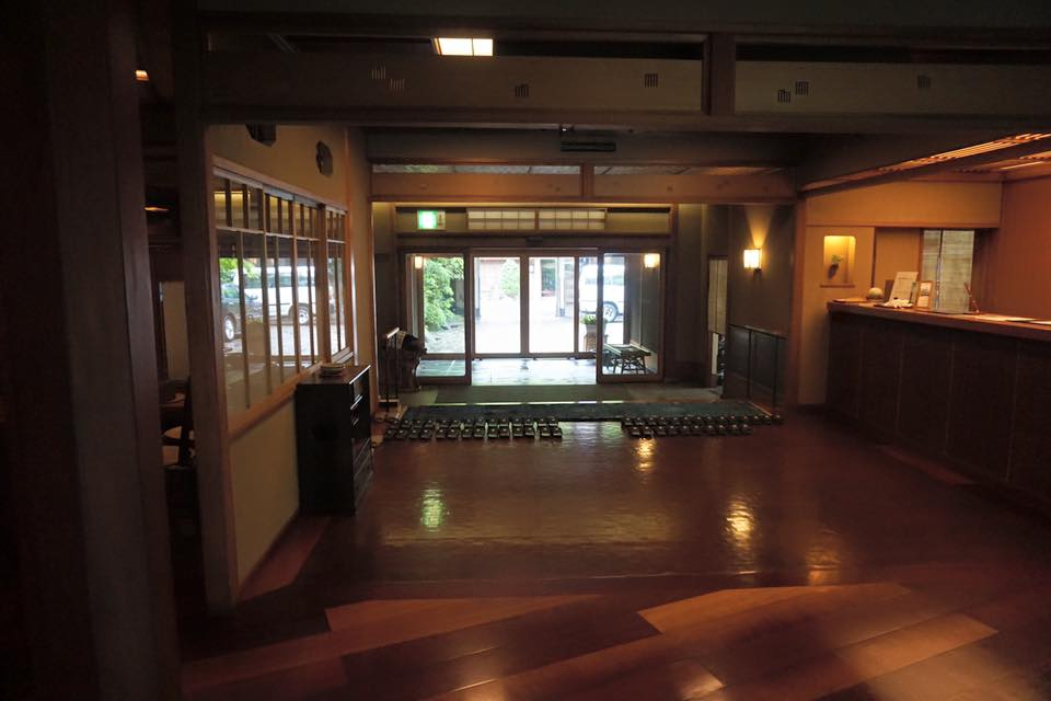 Front desk and entrance to Nishimuraya Honkan.