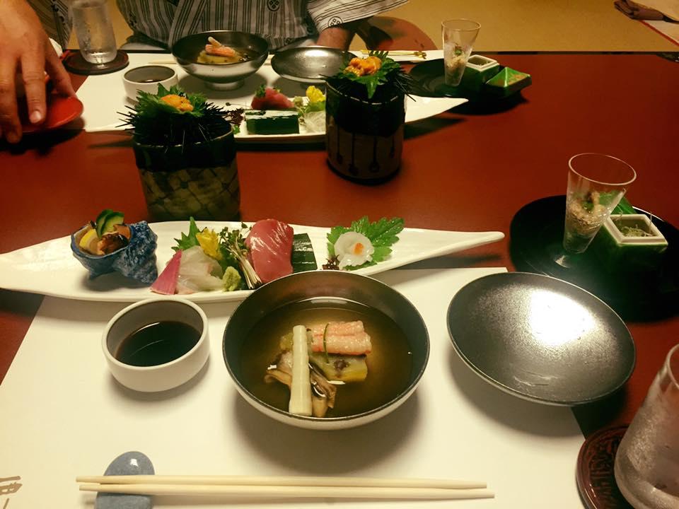 Soup and sashimi set.