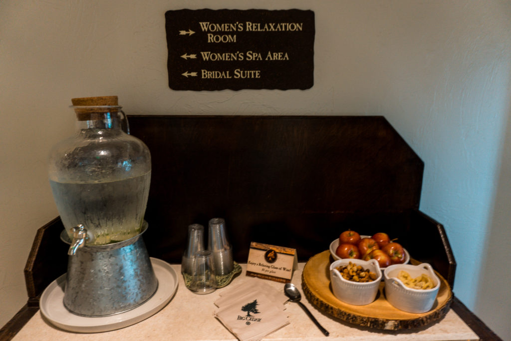 Water and complimentary snacks at Cedar Creek Spa
