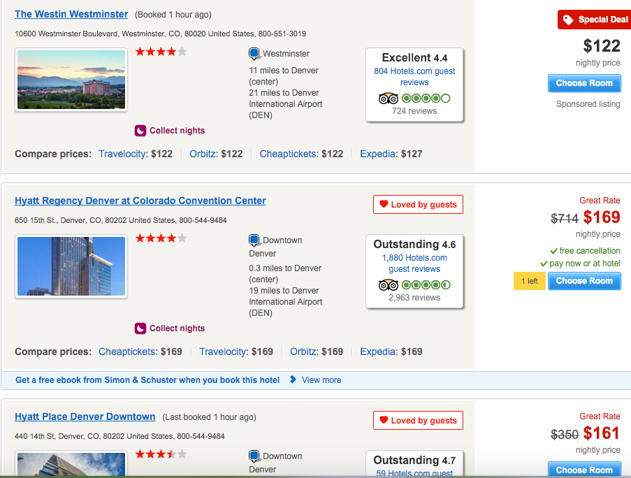 Hotels.com website
