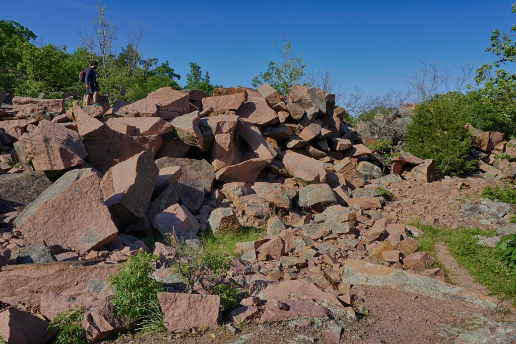 Chunks of red granite at Elephant Rocks State Park.