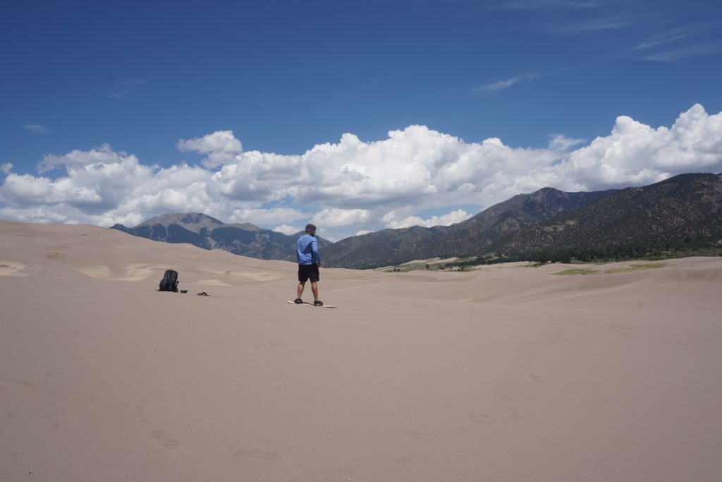 Sandboarding at Great Sand Dunes National Park in Colorado