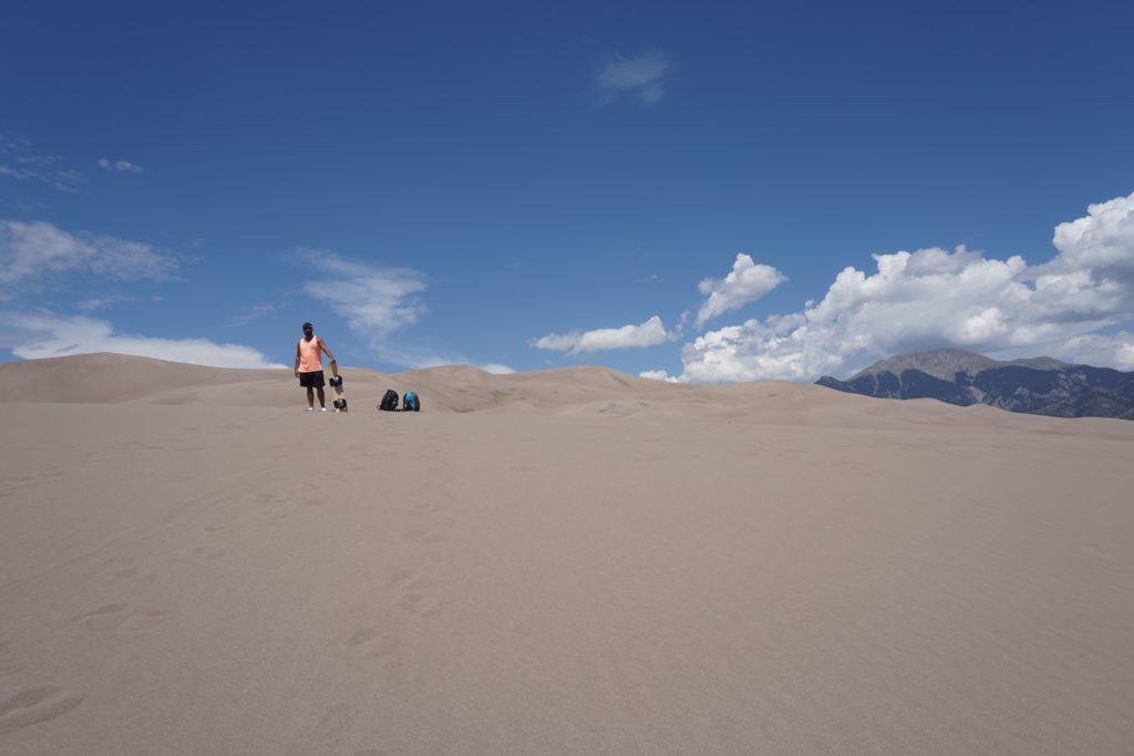 Sandboarding at Great Sand Dunes National Park in Colorado.