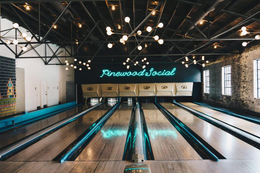 Bowling alley at Pinewood Social in Nashville