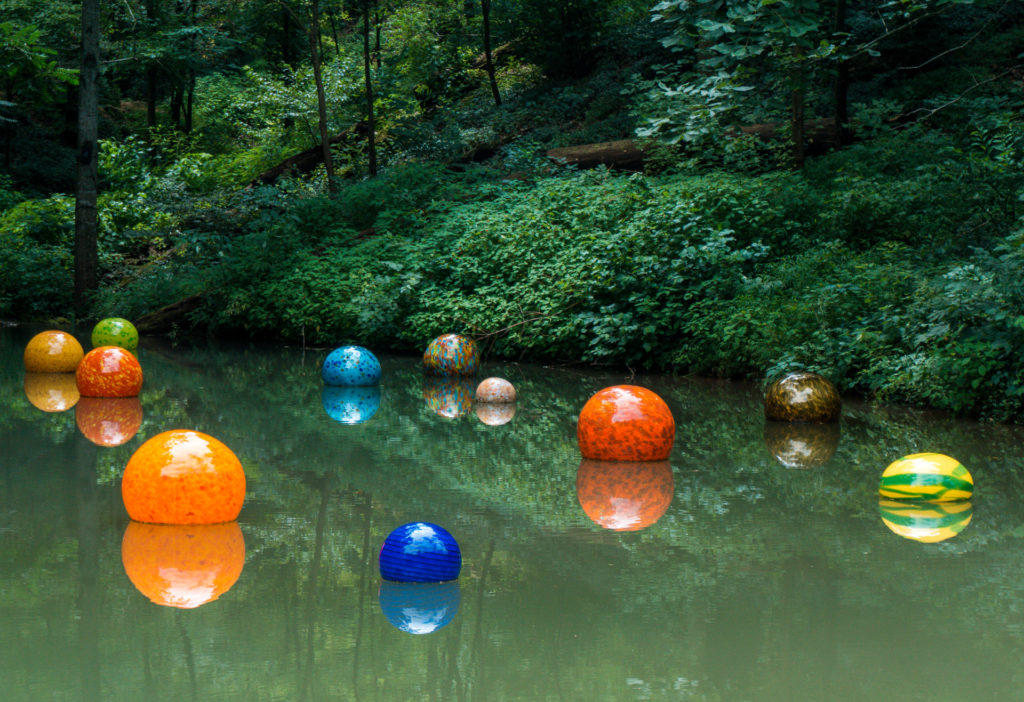 Floating blown glass pieces at Crystal Bridges Museum of American Art | Bentonville, Arkansas | Northwest Arkansas