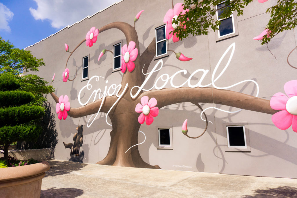 Enjoy Local mural in Fayetteville, Arkansas