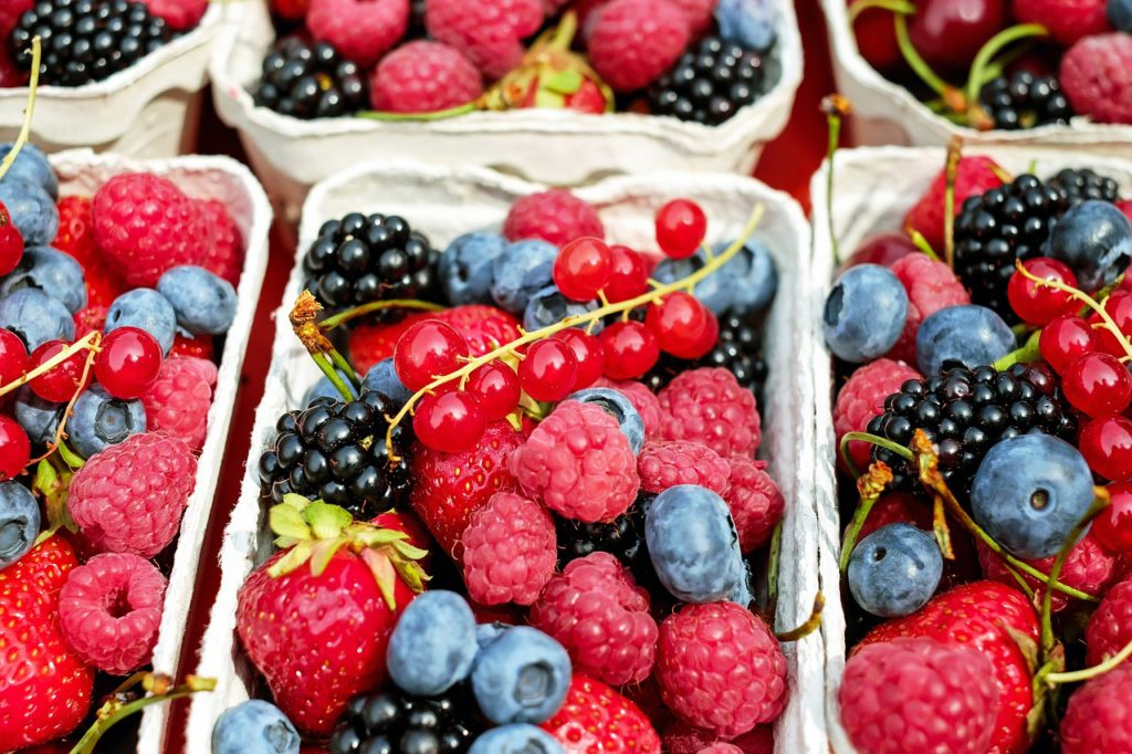 Cartons of berries are a great snack to take to the beach.