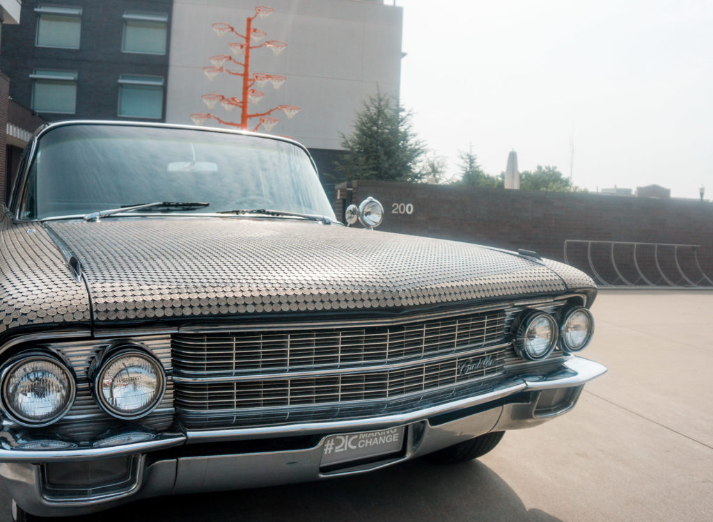 Car outside of 21c Museum hotel in Bentonville, Arkansas