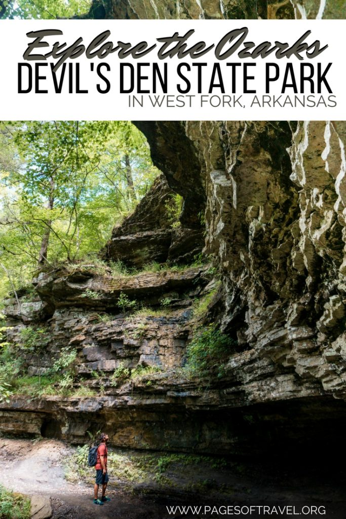 Devil's Den State Park is a historic treasure in the Ozark Mountains that offers cliffs, caves, and lush forests on many hiking trails and camping sites.