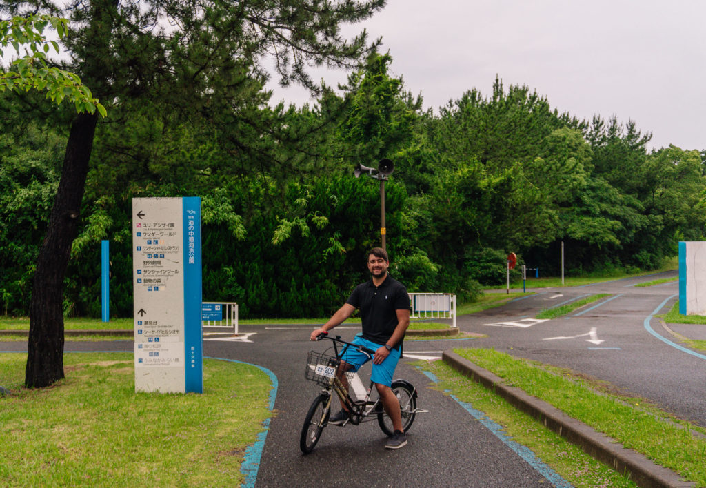Man riding a bicycle at Uminonakamichi Seaside Park - Fukuoka