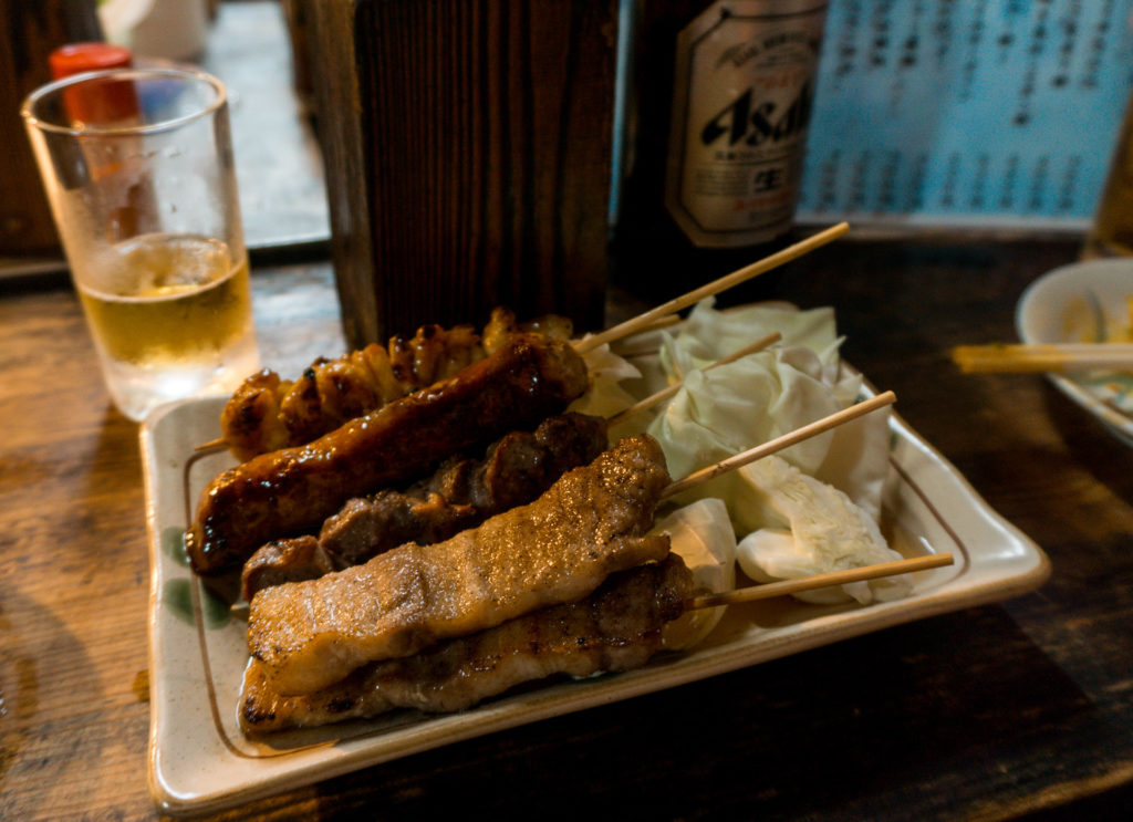 Yakitori (grilled chicken) from KENZO yatai food stall in Fukuoka, Japan