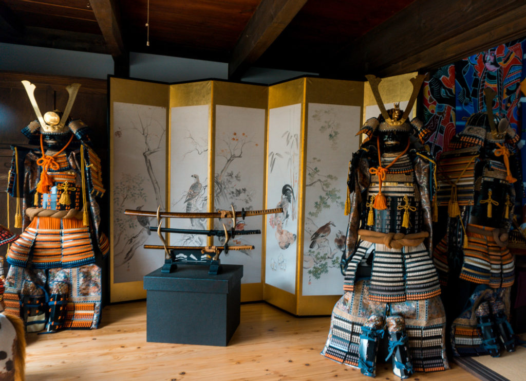 Displays of antique samurai outfits at Nokonoshima Island - Fukuoka