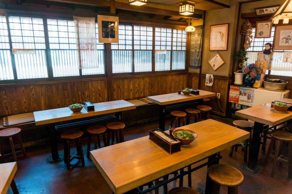 The inside of the Karonouron Udon Shop - Fukuoka, Japan