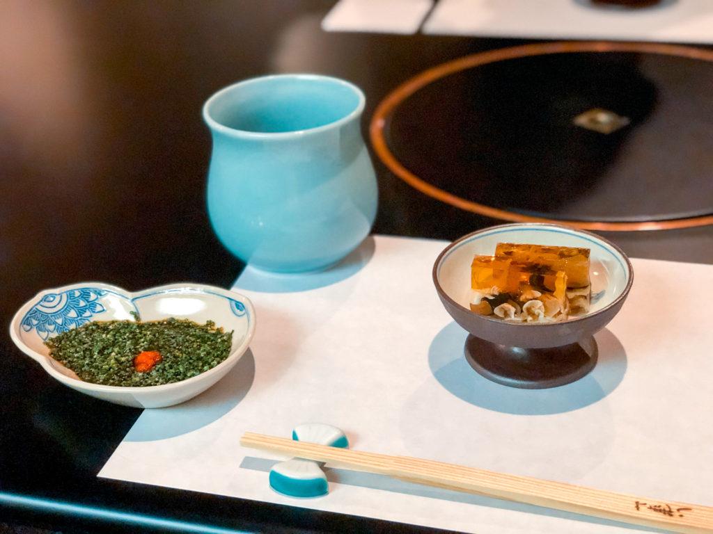 Fugu gelatin appetizer at Hakata Izumi  - Fukuoka Itinerary