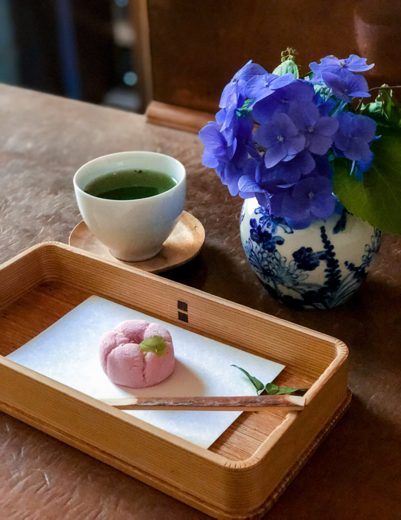 Pink hydrangea flower wagashi from YOROZU in Fukuoka, Japan