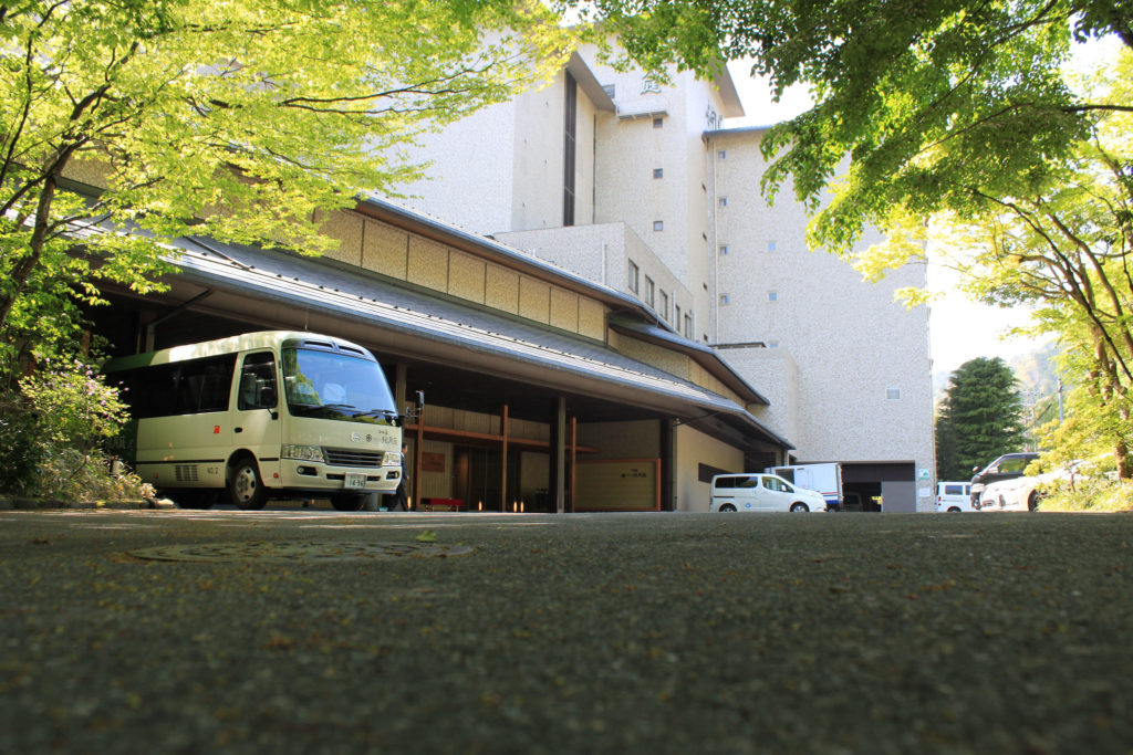 Shuttle bus outside of Japanese ryokan.