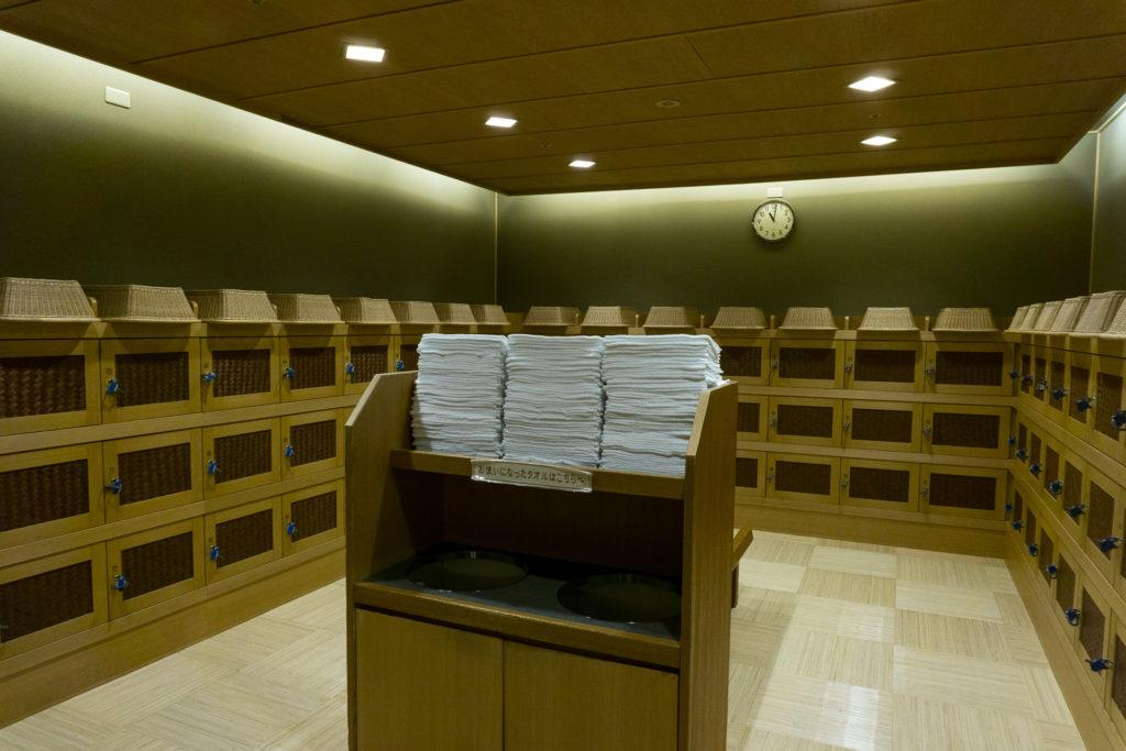Locker Room at the Public Hot Spring Onsen at Nishimuraya Hotel Shogetsutei - Kinosaki Onsen ryokan