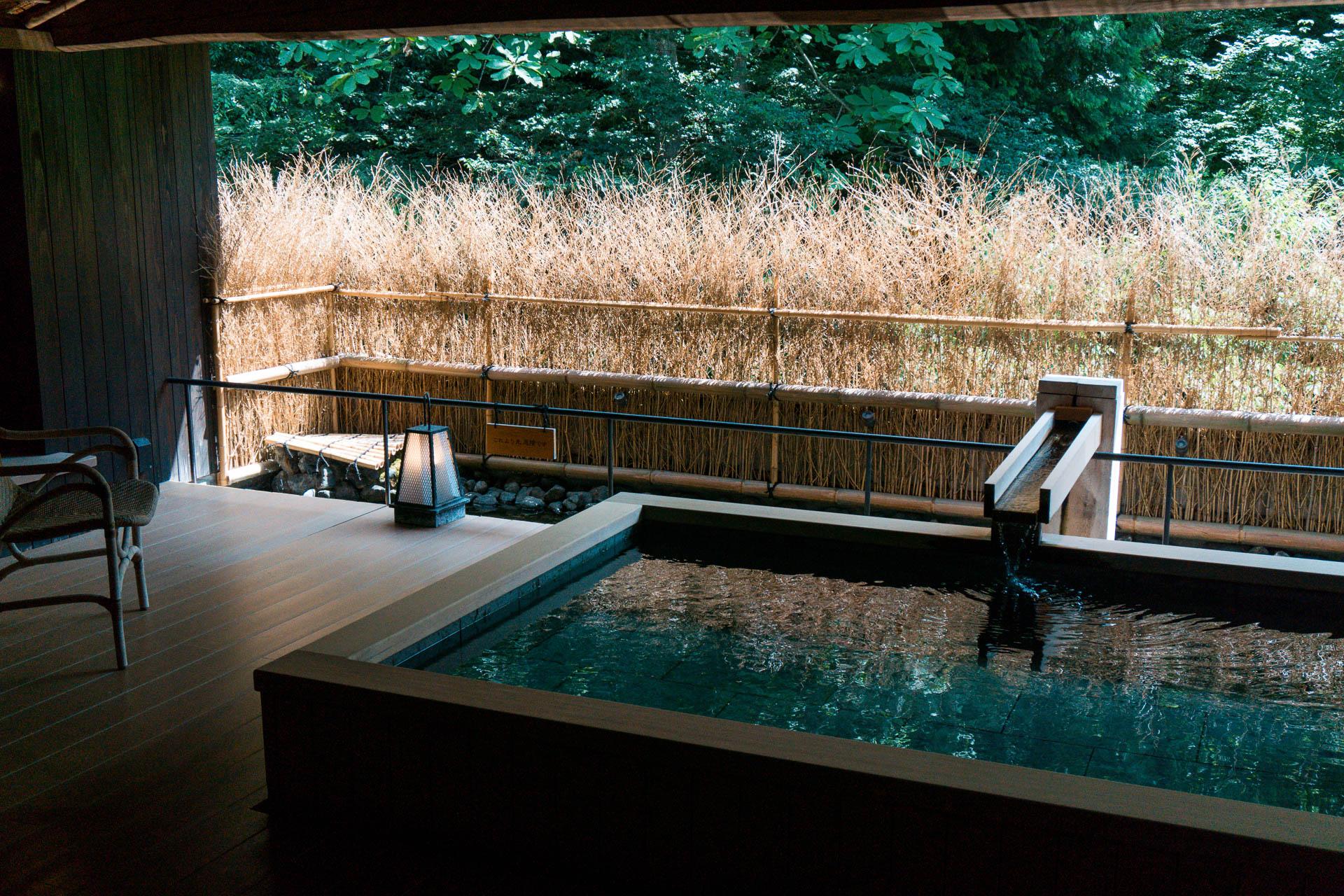 Japanese style private onsen at Nishimuraya Hotel Shogetsutei - Kinosaki Onsen ryokan