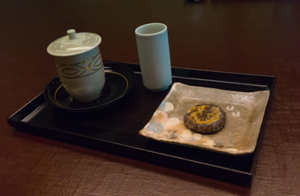 Japanese tea, drinking vinegar, red bead sweet at Nishimuraya Hotel Shogetsutei - Kinosaki Onsen ryokan