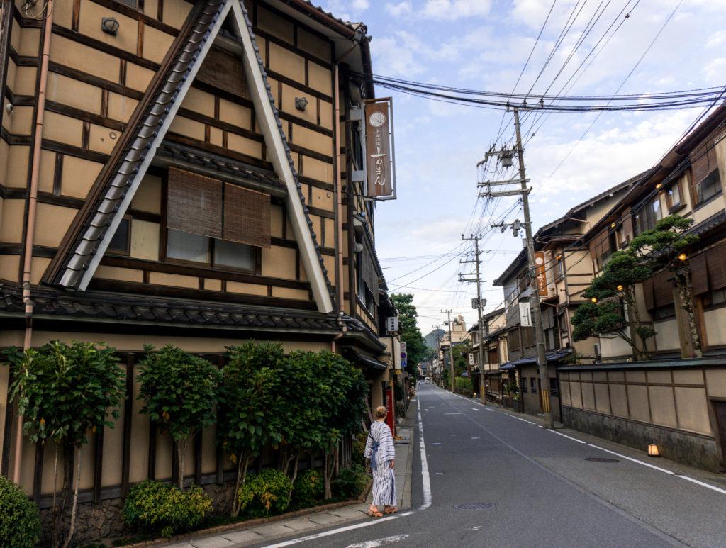Walking through Kinosaki Onsen town in yukata - Kinosaki Onsen ryokan - Kinosaki Onsen, Japan