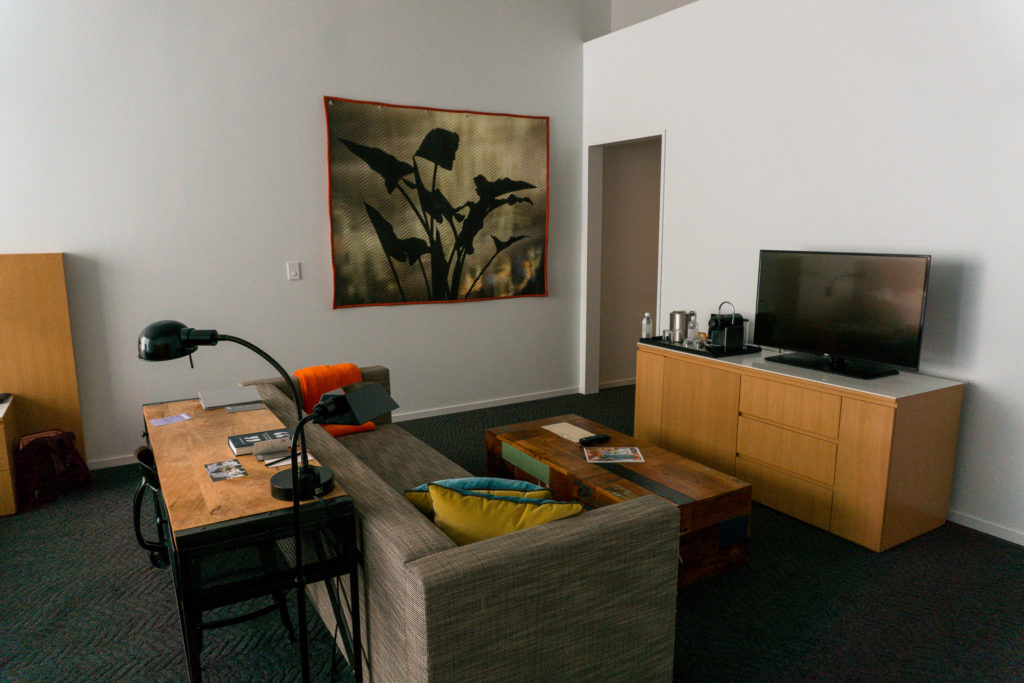 Living room area at the 21c Museum Hotel OKC.