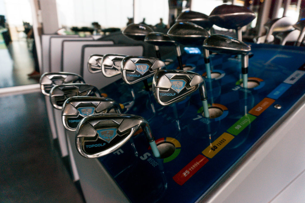 The various clubs at TopGolf OKC