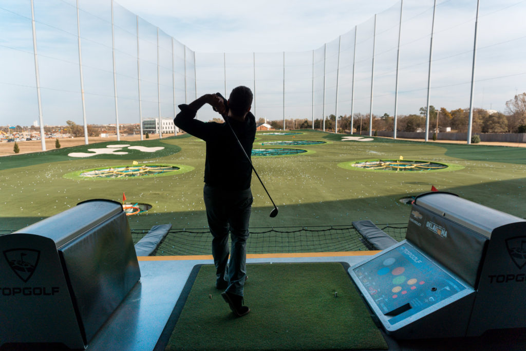Golf swing at TopGolf Oklahoma City