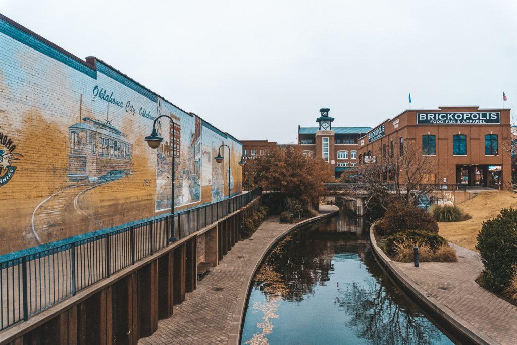 Bricktown waterway canal and storefront.
