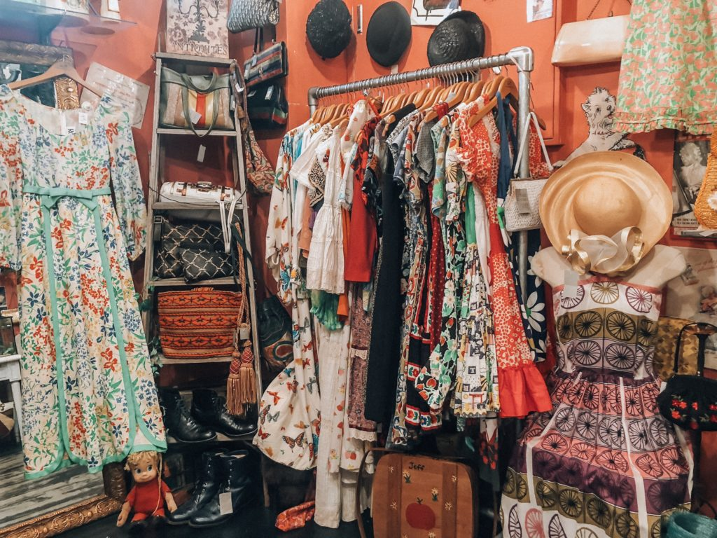 Racks of vintage clothing in Harajuku