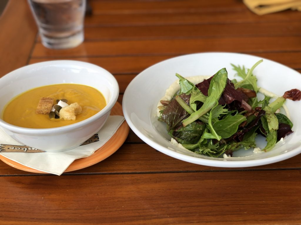 Soup and salad lunch from The Beachcomber restaurant in Laguna Beach, California.