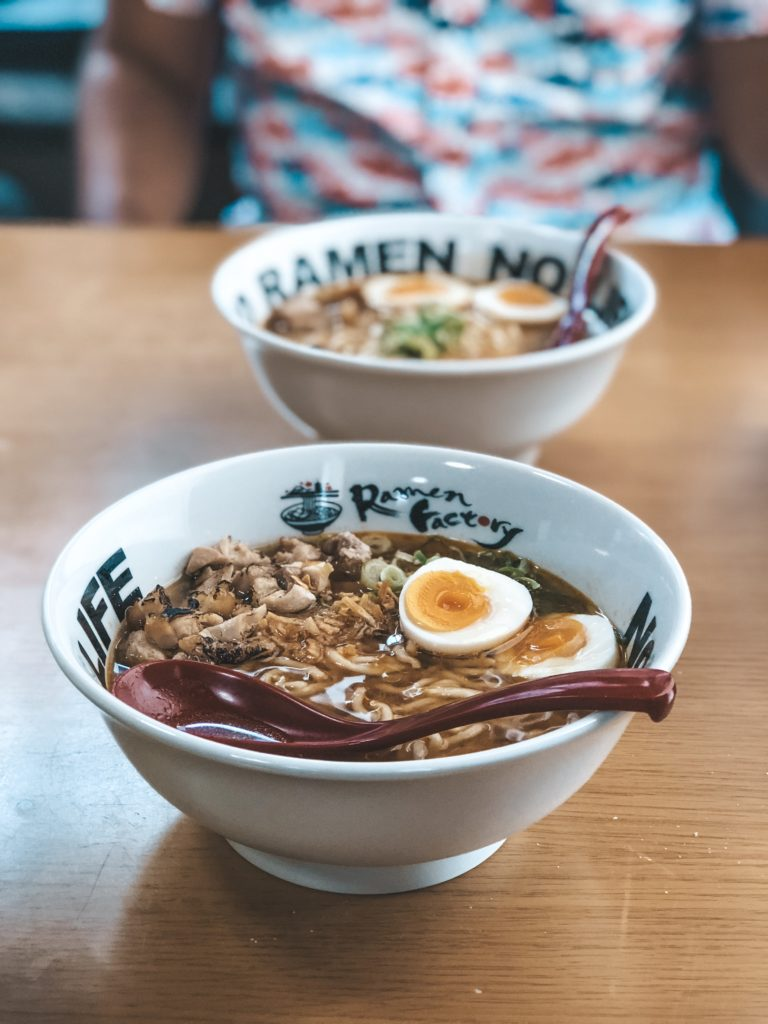 Ramen noodle bowls at Ramen Factory Kyoto