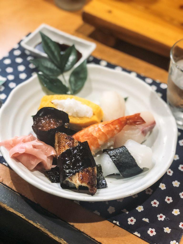 Plate of assorted sushi from Hajime Zushi in Beppu, Japan