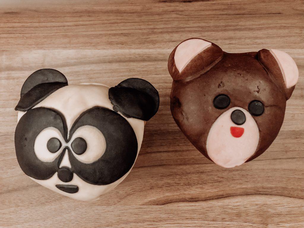 Panda and brown bear melon pan Tokyo desserts