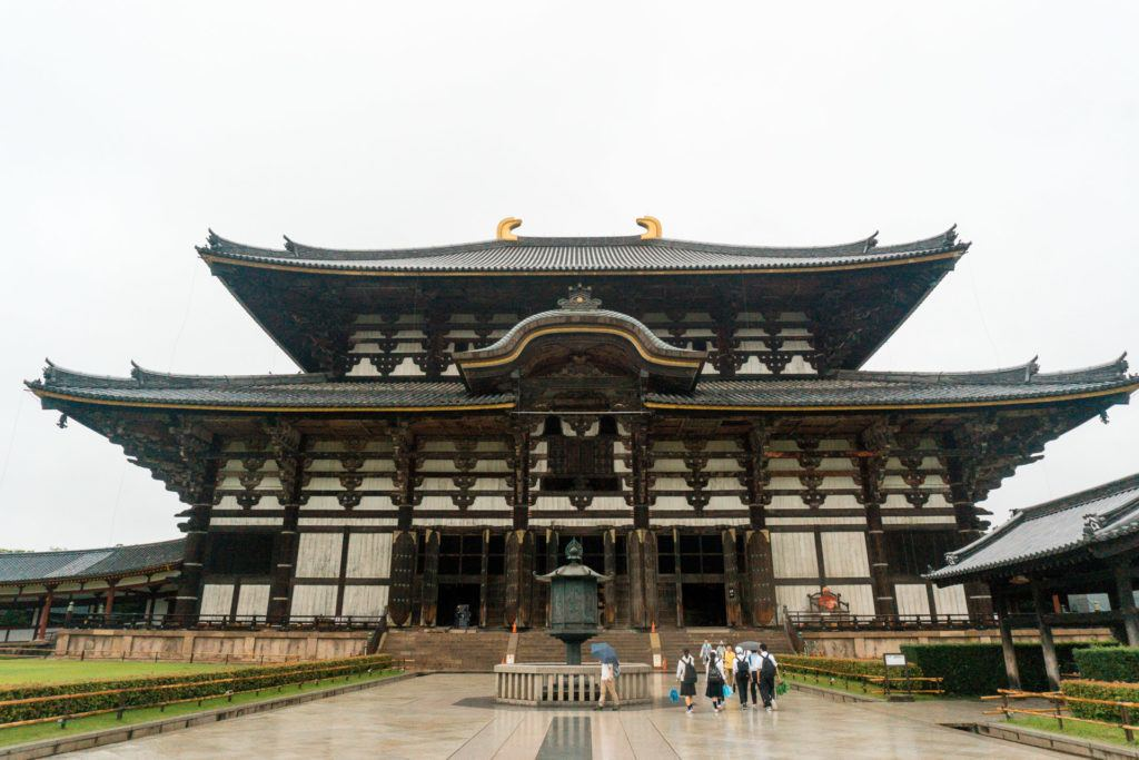 Front view of Toshodaiji Temple in Nara, Japan
