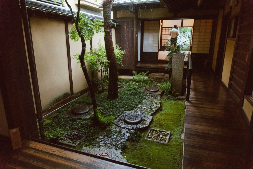 Garden inside an old Japanese home in Nara, Japan
