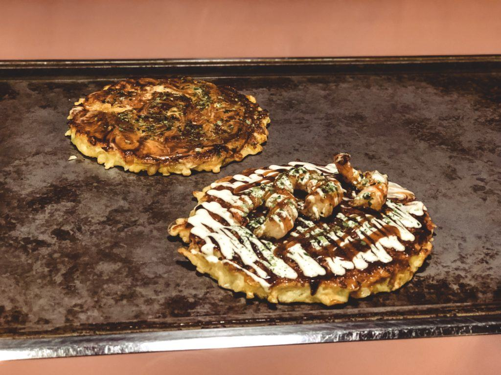Okonomiyaki (Japanese savory pancake dish) from Parco in Nara, Japan