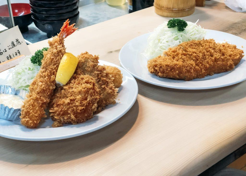 Two places of panko fried meat and seafood from Isen Hontan in Tokyo