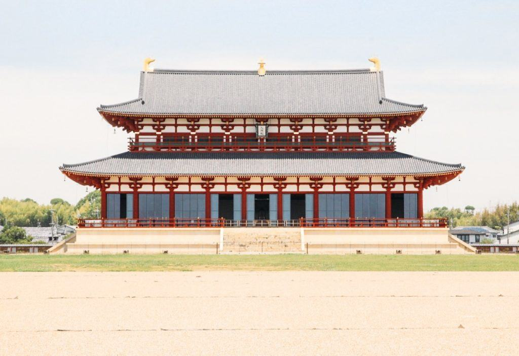 Heijo Palace site from the front (large red temple building)