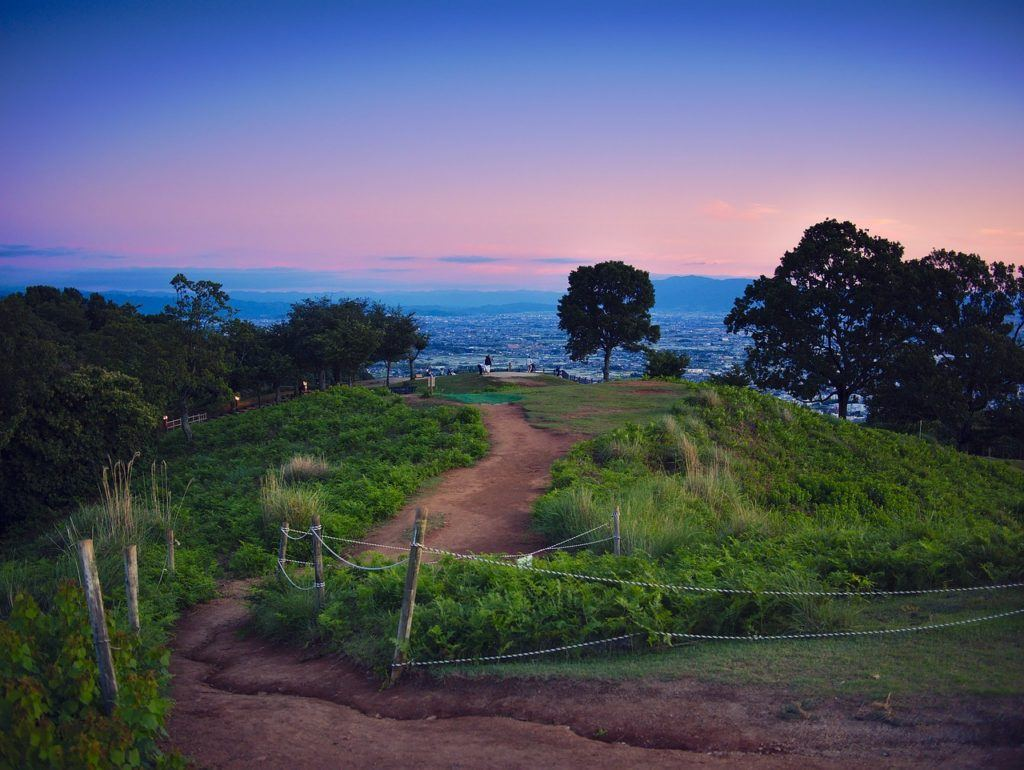 Overlook of a path on Mt. Wakakusa at sunset.