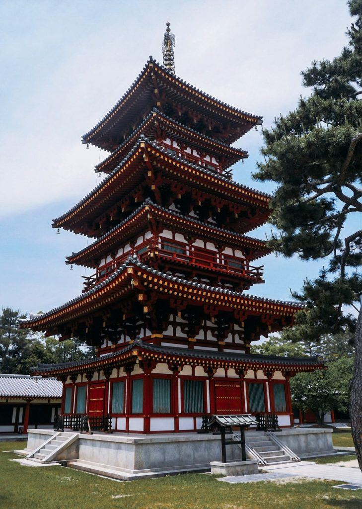 Yakushiji Temple red pagoda