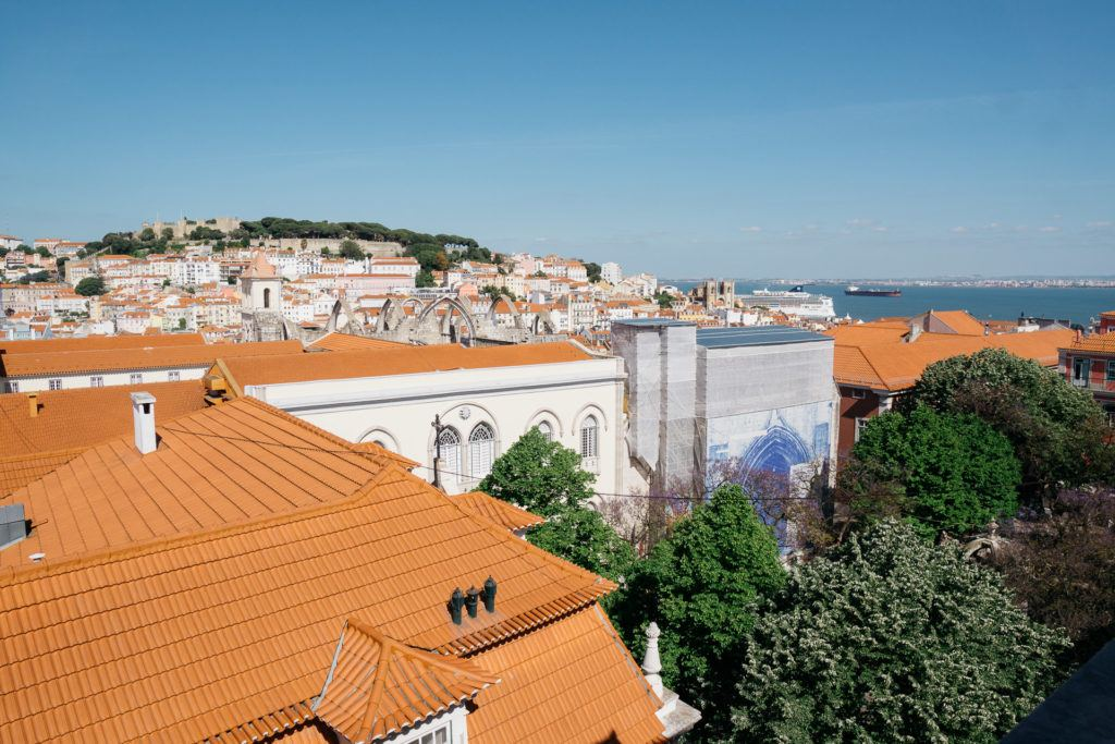 View of Lisbon from a hotel room at the Lisboa Carmo Hotel
