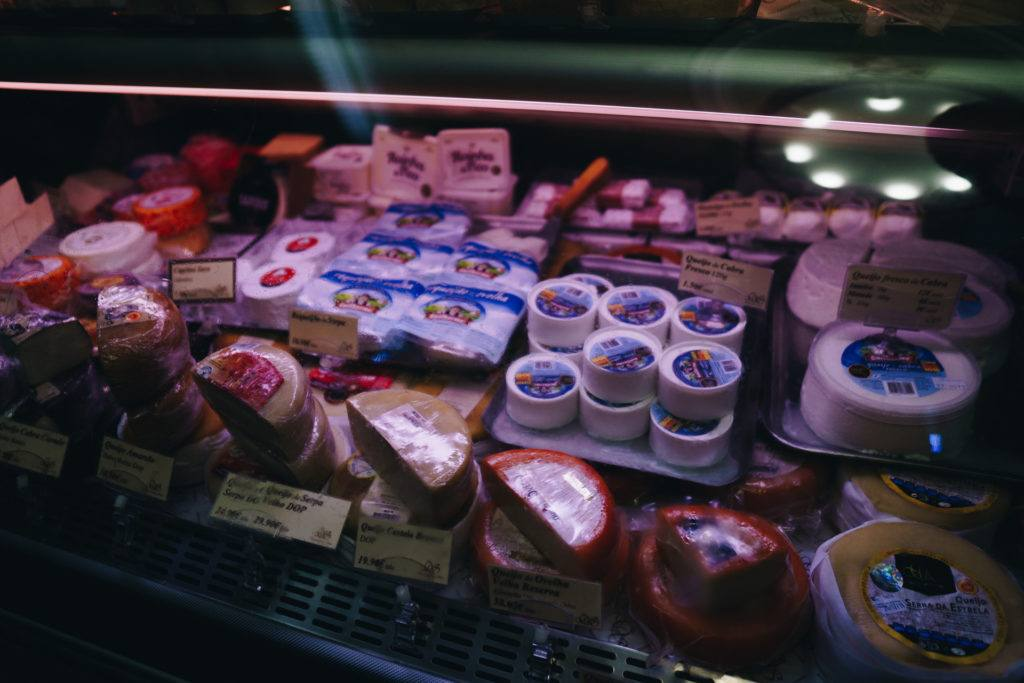 A selection of Portuguese cheeses in Lisbon, Portugal