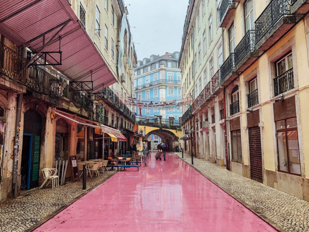Rua Nova do Carvalho (the pink street) in Lisbon, Portugal