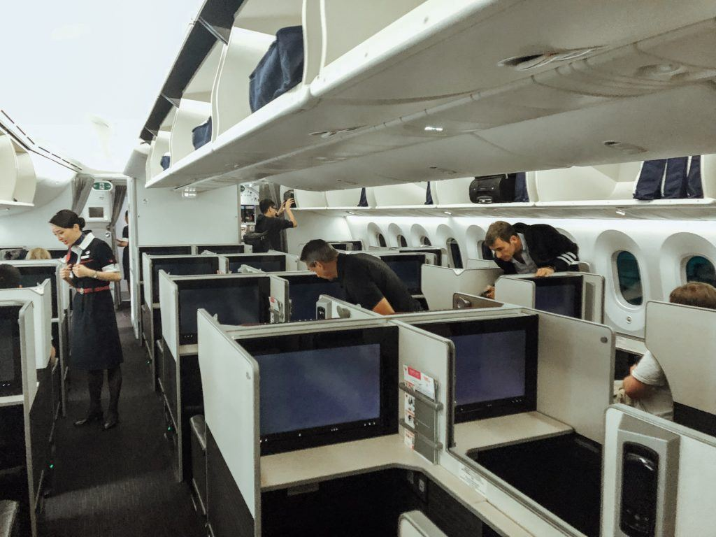 Cabin of Japan Airlines Business Class 787