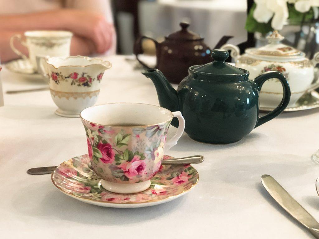 Tea pot and tea cups at Memory Lane Tea Room
