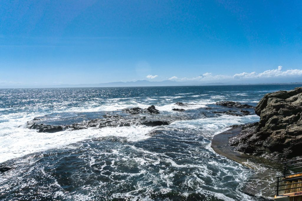 Views of the coast on by Iwaya Caves on Enoshima Island