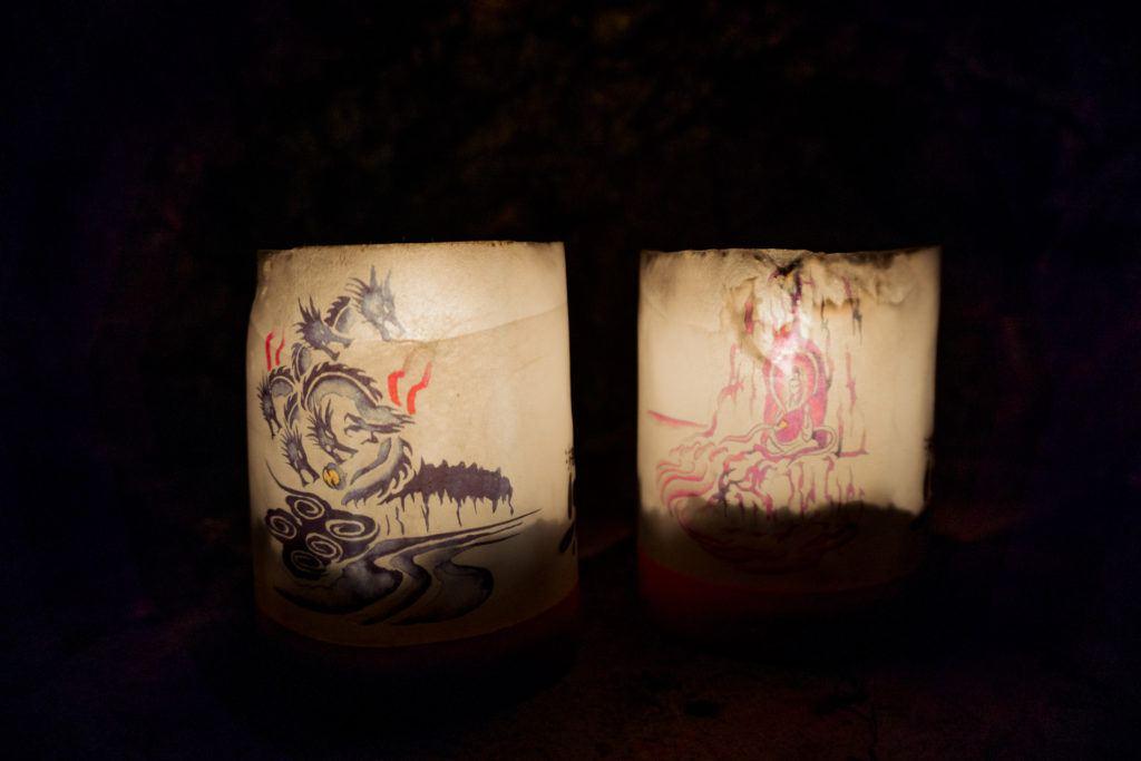 Japanese lanterns in Iwaya Caves.