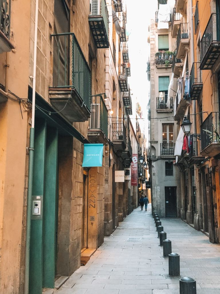 Alleyway of El Born in Barcelona.