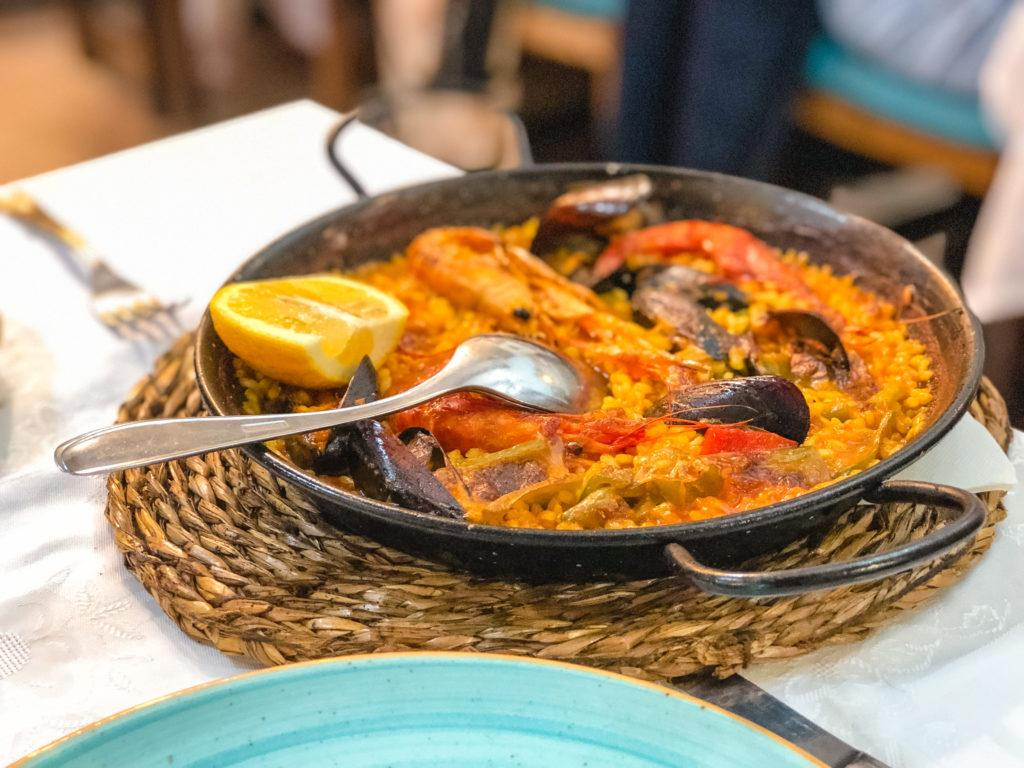 Paella from Restaurante Paco Alcalde in Barcelona, Spain.